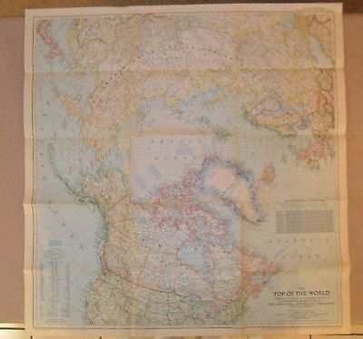 """1949 National Geographic Map THE TOP OF THE WORLD, 28-1/2"""" X 29-1/2"""""""