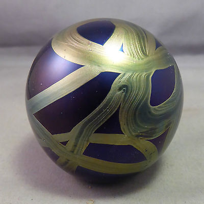 a Superb Isle of Wight Iridescent Glass Paperweight - Label to base