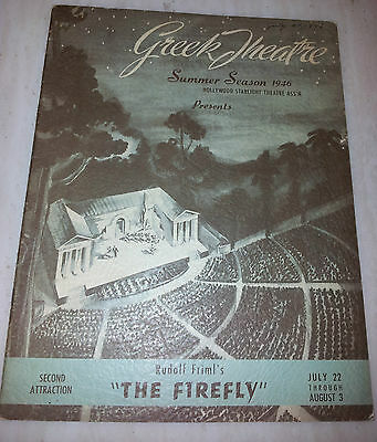".Greek Theatre 1946 Summer Season Programme ""THE FIREFLY"" by Rudolf Friml"