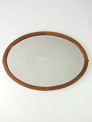 Large Antique Mirror - Edwardian Victorian Vintage Mahogany Overmantle Oval