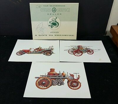 Vintage Advertising CITIES SERVICE Gift 3 Prints Early Fire Truck Engine Prints