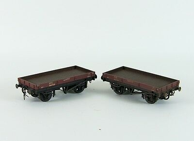 Two Weathered EM Gauge LNER One Plank Lowfit Wagons