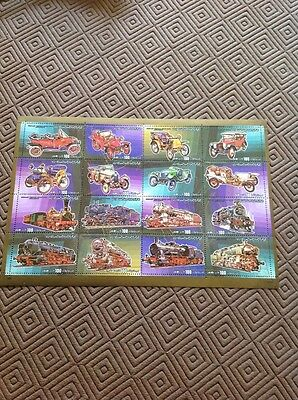 Attractive Set Of 1984 Libyan Stamps Depicting Motor Cars & Steam Locomotives