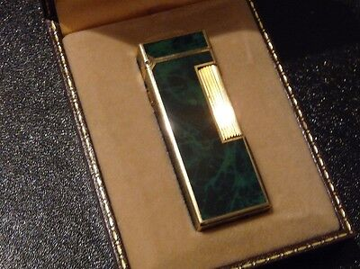Dunhill Rollagas Lighter Green Marble Lacquer De Chine Good Used Condition