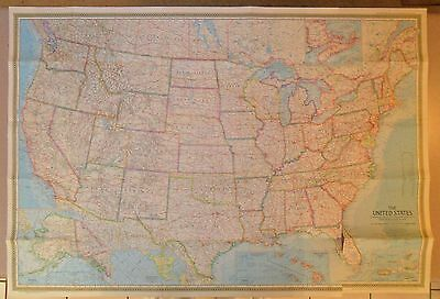 """1968 National Geographic Map THE UNITED STATES, 42-1/2"""" X 29-1/2"""""""