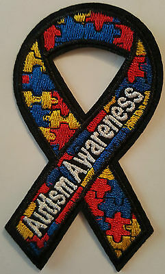 Autism Awareness Ribbon Iron on transfer Patch New Sew on Patch fancy dress