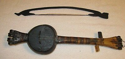 Vintage 2 Strings from Nose in Carved bone face BONE & WOOD (Erhu?) w/BOW