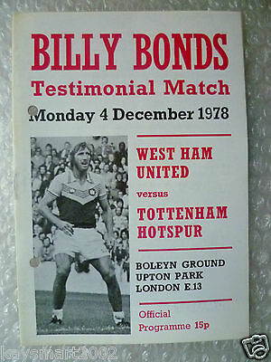 1978 Billy Bonds Testimonial Match WEST HAM UNITED v TOTTENHAM HOTSPUR, 4 Dec 78