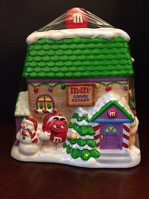 Christmas Ceramic M&M candy jar LARGE NIB and factory sealed NICE
