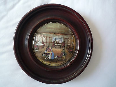 Antique Prattware mounted pot lid of Shakespeare's birthplace