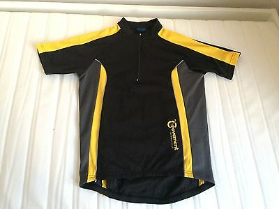 MOVEMENT SESSION Black Yellow Runner Cyclist Short Sleeve Top Jumper Jersey M