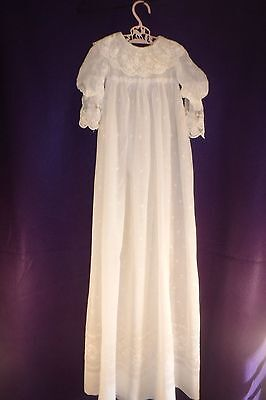 Antique Embroidered Lace cotton Christening Gown - Entirely handmade