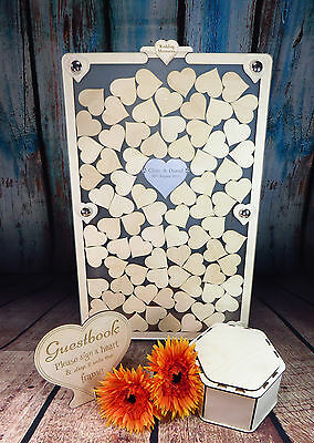 Personalised Wedding Guestbook Frame Wooden Heart Dropbox, Portrait/Upright