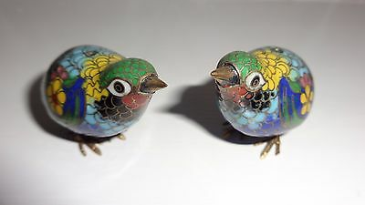 Colourful Pair Of Vintage Cloisonne Enamel Small Bird Figurines - Mint Condition
