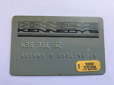 Vintage Retail Charge Credit Card J22 Kennedy's