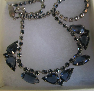 Art Deco Vintage Sapphire Blue Cocktail Necklace, Engine Turned Clasp