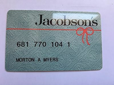Vintage Retail Charge Credit Card J22 Jacobson's