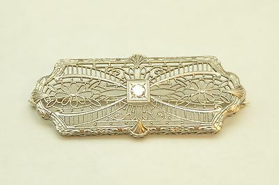 Antique 14k White Gold .10ct Diamond Filigree Brooch Pin