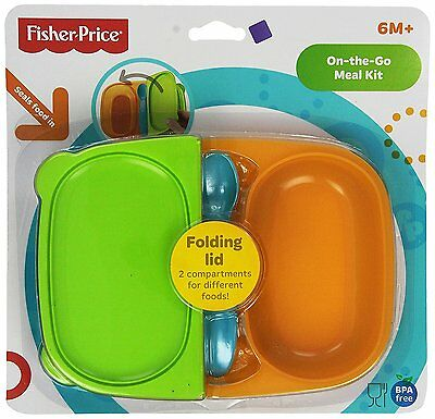 Fisher‑Price On‑The‑Go Meal Kit, Multicolor BPA Free Two Compartments with Spoon