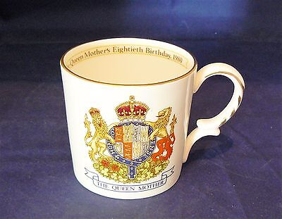 AYNSLEY Bone China - 1980 COMMEMORATIVE MUG - THE QUEEN MOTHER'S 80th BIRTHDAY