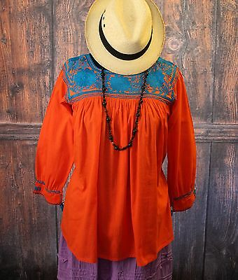 Turquoise & Tangerine Hand Embroidered Blouse Mayan, Chiapas Mexico Peasant Boho