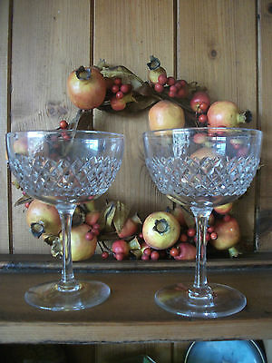 Vintage Diamond Cut Glass Champagne saucers .x 2