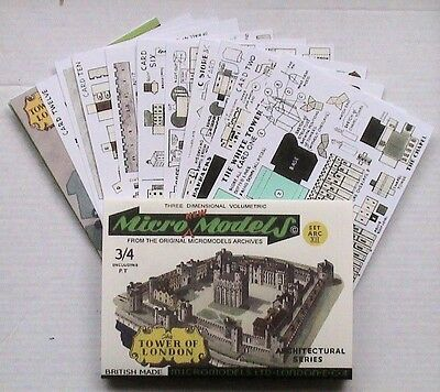 Micromodels THE TOWER OF LONDON SET ARC XII Micro New Models card model kit