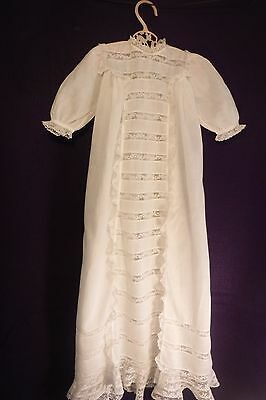 Early 19th C antique cotton bobbin lace Christening Gown