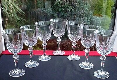 "7 X Vintage Crystal Wine glasses Christmas Gift Table 7"" Tall Excellent Cut"