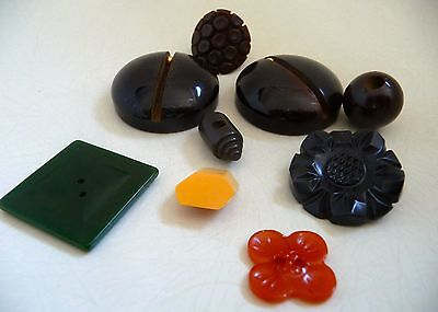 9 Vintage Bakelite Sewing Buttons Lot Various