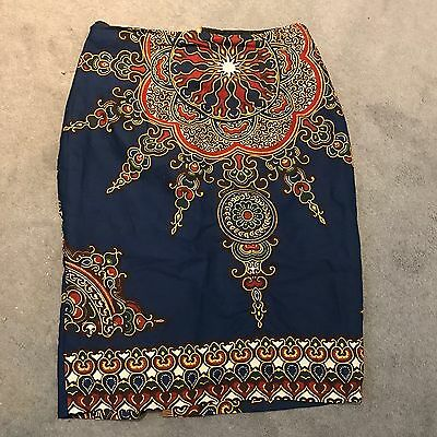Vintage African Print Cotton Pencil Skirt Size 10