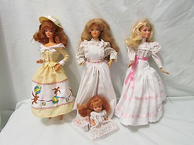 Lot of Country Girl Barbies Dolls & Baby with Clothes but no Shoe GUC!
