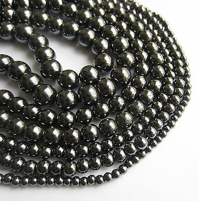 """Hematite round non-magnetic beads.15.5"""" strand. Choose size 4 6 8 or 10mm SP17"""