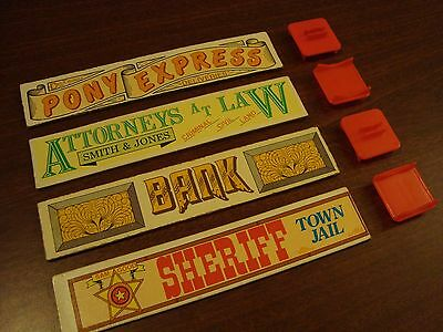 Lincoln Logs Lot of 4 Vintage Double Sided Roof Signs with Stands