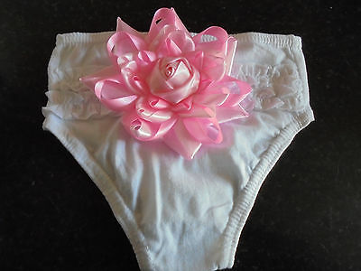 Baby Girls White Cotton Frilly Pants/Knickers WITH PINK SATIN BOW ROSE 6-9 month