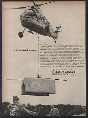 Sikorsky Aircraft MAR 1960 S-58 Helicopter 2-page Original Print Ad