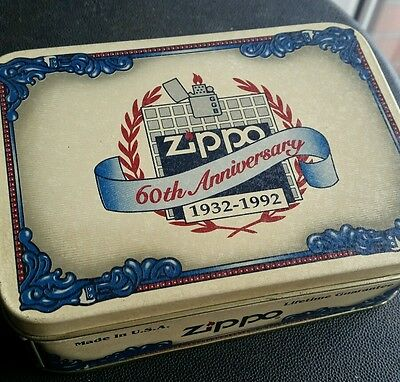 """NEW ZIPPO LIGHTER in the box """" 60 ANNIVERSARY 1932 - 1992 """" LIMITED EDITION"""