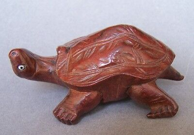 Small Carved Wooden Tortoise with Glass Eyes