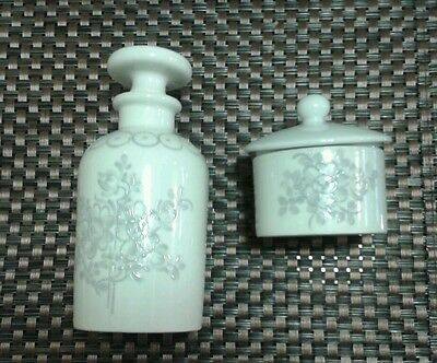 Vintage Aspreys Porcelaine de Paris Hand Painted French Pot & Bottle Ladies Gift