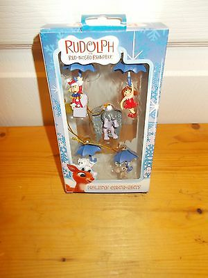 RUDOLPH THE RED NOSED REINDEER Set of 5 Mini Ornaments from ENESCO NIB