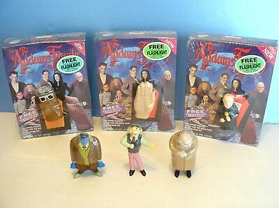 The ADDAMS FAMILY~CEREAL Flashlight(1992) 3 Unopened Boxes & CANDY CONTAINERS