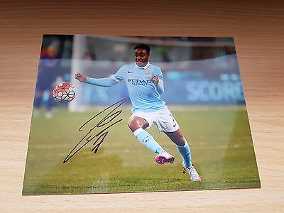 Raheem Sterling Hand Signed Manchester City 8 x 6 Photo + COA
