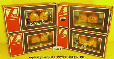r352 lima oo rolling stock 4x twin silo blue circle cement wagons nr xclnt boxed