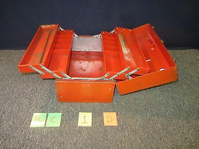 Stack-On Tool Box Red Large Chest Military Metal Kit Trays Drawers Surplus Used