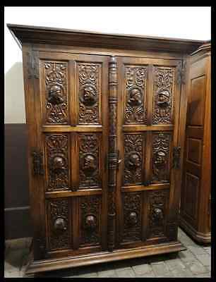 Early 19Th Century French Carved Oak Marriage Armoire Figures Handmade