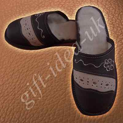***LADIES WOMEN'S LEATHER COMFORTABLE SLIPPERS SIZE UK3=EU36 * Great GIFT Idea *