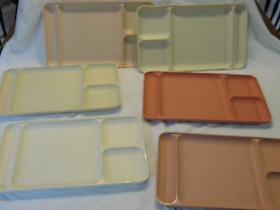 Lot 6 Tupperware Divided Trays Picnic 15535 Dining Cafeteria Camp Stackable