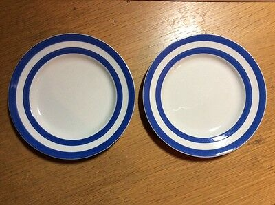 2  T.G. Green Cornishware 7in side plates Judith  Onions Target Mark