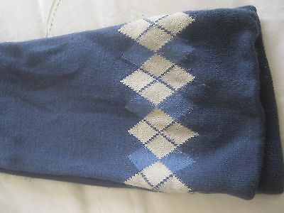 Boys Blue Knitted Scarve With Diamond Pattern On The End 48 Ins Long