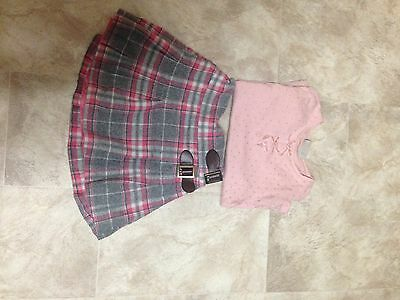 Next Girls Tartan Skirt And Pink Top
